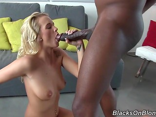 Black guy has so huge cock that charming blonde couldn't fit it in her narrow mouth