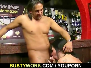 Brunette plump barmaid fucked from behind in pub
