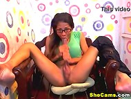 Playful shemale with glasses sucking and jerking long erected phallus 5