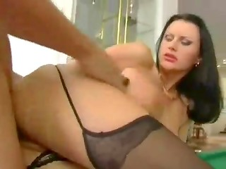 Busty lady in stockings with tight pussy filled with spunk