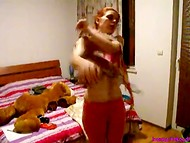 Bulgarian homemade video with young redhead that is trying to find the sexiest outfit 7