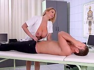 Busty nurse in sexy stockings had to take care of the debauched patient 4