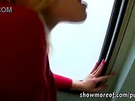 Blonde could not refuse the huge amount of bucks and started to give a blowjob in the Czech train restroom 6