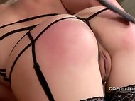 Brunette Swedish pervert puts a collar on the tamed friend and spanks her perfect buttocks 9