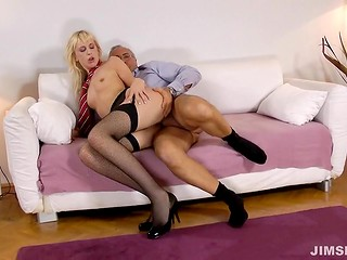 Dirty-minded blonde slut from Croatia rides the old man boner and swallows his sperm