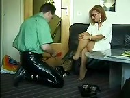 Woman from Germany got excited from the pleasure brought to her legs and got ready for the continuation 6
