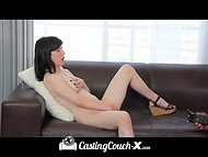 Amateur chick was listening to every word of the naughty man during the interview 6
