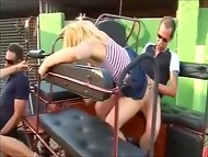 Lechers from Spain used chariot for sexual intercourse with cute blondes