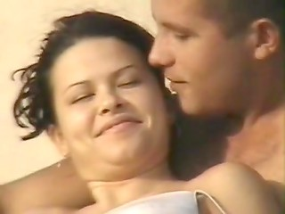 Erotic adventure of young honeymooners from Greece while sunbathing on the street