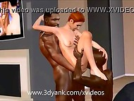 Guy in classic suit watched two muscular black men penetrating ginger sweetie 4