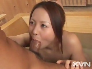 For slender Japanese beauty bathing ended with deepthroat and fucking