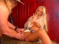 Big-boobied Norwegian Tanya Hansen was fucked by the cowboy in the haystack