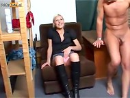 Dutch blonde seconded a motion to take a rest right at the workplace 4