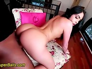 Awesome Romanian doll face rides like crazy a huge black dick of her interracial lover