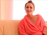 Lithuanian pornstar Tina Kay in the gentle bathrobe answers some questions