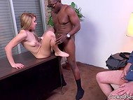 Perverted mature man asked his wife to taste the Ebony comrade's huge black cock 10