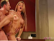 Honey with long hair could not restrain any longer so buckle down to giving blowjob