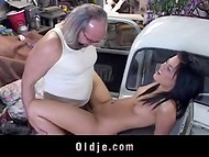 Young brunette girlfriend gets fucked by horny graybeard in the garage