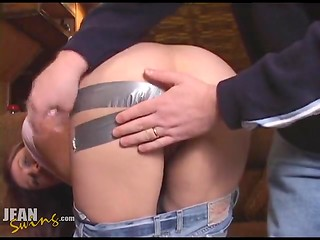 Duct tape is used to get girl's butt cheeks spread wide open