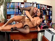 Busty Hungarian secretary with juicy lips is happy to meet her boss in the office 8