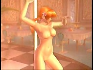Red-haired Kasumi's training is held by the pole in the awesome hentai video