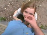 Finnish teen Anna Sucks demonstrates her main talent giving blowjob outdoors 8