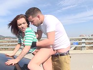 Horny couple could not resist any longer so left car to enjoy the fresh air 11