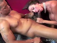 Latina pornstar Ariella Ferrera doing her favourite job satisfying huge black dick with mouth