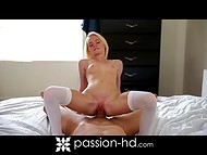 Petite blonde in white stockings and her paramour had libidinous sex after waking up