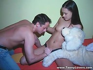 Big stuffed toy helped guy to gain the access to petite lassie's accurate pussy 4
