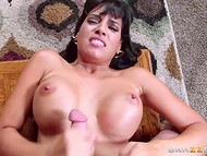 Young dude banged luxurious Latina Mercedes Carrera with big breasts on the coffee table 11