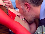 Doctor offered gorgeous nurse in red lingerie to become a lewd slut for a short time 4
