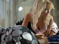 Light-haired sweetie with pretty face took care of her boyfriend in the romantic video