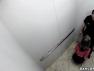 Tootsie with glasses presented a relaxing blowjob to the policeman in public toilet 7