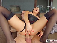 Winsome pornstar from France Cecilia De Lys got an erected penis in her perfect butt hole 5