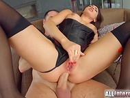 Winsome pornstar from France Cecilia De Lys got an erected penis in her perfect butt hole 6