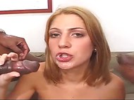 Two dark-skinned chaps banged slender blonde and came in her mouth and on the face 11