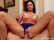 POV video with tanned lady in blue panties that enjoys the moment with excited lover