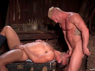 Two lustful gay guys enjoy blowjob and rimming in dusty abandoned barn