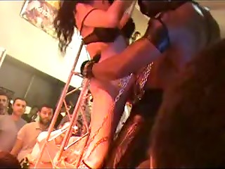Smoking-hot girls are dancing in dirty way on the stage of the popular Greek club