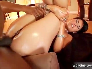 Oiled MILF loves butt-fucking with black guys
