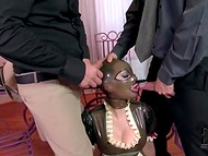 Big-boobied lady Latex Lucy has served two dicks being in the latex mask