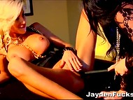 Fascinating brunette and astonishing blonde bombshells have lesbian fun in the hot video