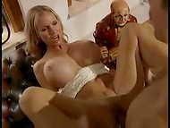 Secretary Annina Ucatis with giant boobs got holes fervently fucked by her boss