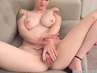 Short-haired blonde in high heels skillfully stimulating her hairy pussy 4
