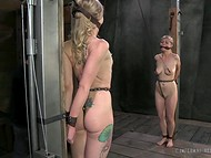 Perverted fellow spanked with paddle two slender chained cuties in turn 5