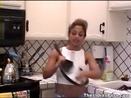 Big-boobied Indian woman made a great show of her pussy in the kitchen 5