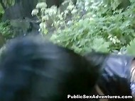 Foreigner got acquainted and fucked black-haired Russian flapper in the forest glade 6