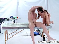 Athletic masseur oiled stunning MILF's body and big boobs before sex on the table 10