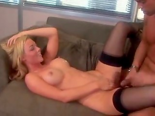 Young girlfriend in stockings gets hammered frm behind